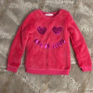Hot pink fluffy sweater with sequins
